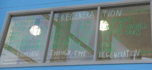 A poem written onto the window at Beswick Library, Manchester